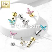 14K Gold Threadless Labret/Flat Back Stud with CZ ButterflTop