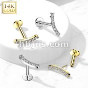 14K Gold Threadless Labret/Flat Back Stud with CZ Paved CurvTop