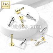 14K Gold Threadless Labret/Flat Back Stud with 3-Ball Triangle To