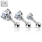 14Kt. White Gold Cartilage/Tragus Barbell with Prong Set CZ Top