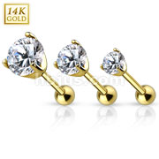 14Kt. Gold Cartilage/Tragus Barbell with Prong Set CZ Top