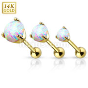 14Kt. Gold Cartilage/Tragus Barbell with Prong Set Opal Gem