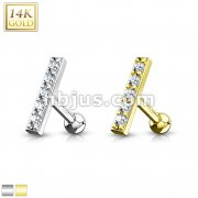 CZ Lined Set 10mm Long Bar Top 14K Gold Cartilage/Tragus Barbell