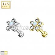 5 CZ Petals with Opal Center Flower Top 14K Gold Cartilage/Tragus Barbell