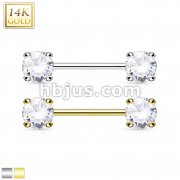 Double Prong Set AAA CZ 14K Gold Nipple Bar