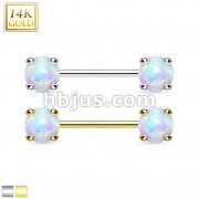 14Kt Gold Nipple Bar/Opal Gem Prong Set On Both Sides.