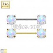 14Kt Gold Nipple Bar/Opal Gem Prong Set On Both Sides.