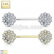 Triple Tiered CZ Flower 14K Gold Nipple Bar