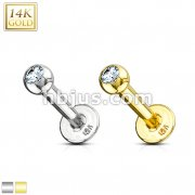Clear CZ Gem Ball Top 14Kt. Solid Gold Labret Monroe