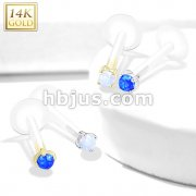 14Kt. Gold Opal Prong Set Top Bio Flex Flat Back Studs for Labret, Monroe, Ear Cartilage and more