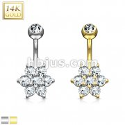 Flower Clear CZ 14 Karat Solid Gold Navel Ring