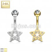 Star Charm Clear CZ 14 Karat Solid Gold Navel Ring