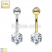 Round 6mm Prong Set CZ with 14 Karat Solid Yellow White, Gold Navel Ring