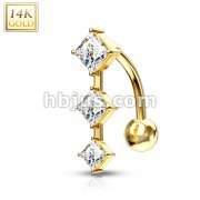 Triple Dia Cut CZ Prong Vertical Drop with 14 Karat Solid Yellow Gold Top Down Navel Ring