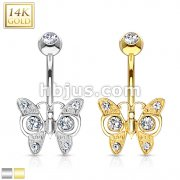 Butterfly Clear CZ Navel Ring 14 Karat Solid Yellow, White, Gold