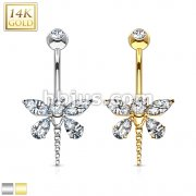 Marquise Teardrop CZ Dragonfly Navel Ring 14 Karat Solid Yellow Whit Gold