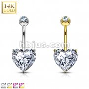 Heart CZ Prong Set 14 Karat Solid  Gold Navel Ring