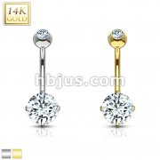 Round CZ Prong Set 14 Karat Solid Gold Navel Ring