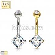 14 Karat Solid Gold Navel Ring with Square Princess Cut CZ