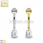 Tear Drop CZ Prong Set 14 Karat Solid Gold Navel Ring
