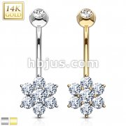 Flower Clear CZ Navel Ring 14 Karat Solid Gold