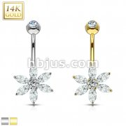 Petal Flower Multi CZ Prong 14 Karat Solid Gold Navel Ring