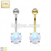 Prong Set 6mm Opal Stone 14K Gold Navel Ring