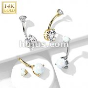 14K Gold Prong Set Double Round Opal or CZBelly Button Navel Rings