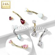 14K Gold Prong Set Round Top and Teardrop Opal or CZ Belly Button Navel Rings