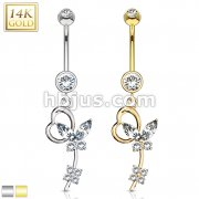 Marquise CZ Butterfly Heart Loop Dangle 14 Karat Solid Gold Navel Ring