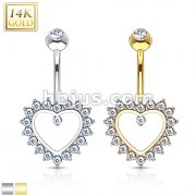 Heart Gem Paved Navel Ring 14 Karat Solid Gold
