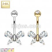 14K Gold Butterfly w/ Marquise Teardrop CZ Navel Ring