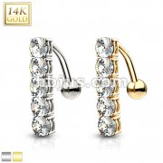 Vertical Drop CZ Set Top Down 14 Karat Solid Gold Navel Ring