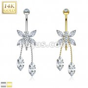 Marquise CZ Dragonfly Dangle 14 Karat Solid Gold Navel Ring