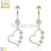 Triple CZ Flower Heart Dangle 14 Karat Solid Gold Navel Ring