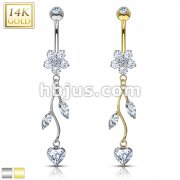 Vine CZ Dangle 14 Karat Solid Gold Flower