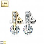 14 Karat Solid Gold CZ Bar Prong Top Down Navel Ring