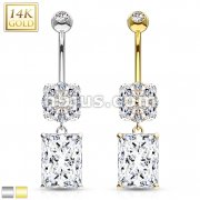 Asscher Cut Square CZ Dangle with Flower 14 Karat Solid Gold Navel Ring