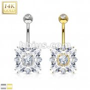 Round and Marquise Cut CZs 14 Karat Solid Gold Navel Ring