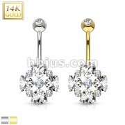 Heart Cut Flower Petals CZ 14 Karat Solid Gold Navel Ring