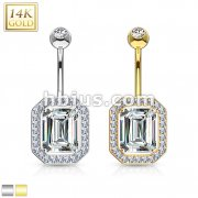 Princess Cut CZ Pronged with Multi Paved Gems Around 14 Karat Solid Gold Navel Ring