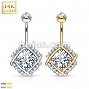 Diamond Cut Round CZ Pronged in Multi Paved Windmill 14 Karat Solid Gold Navel Ring