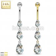 Cascading Teardrop CZs 14 Karat Solid Gold Navel Ring