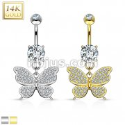 Butterfly Dangle with Micro Paved CZ 14KT Gold Dangle Navel Ring
