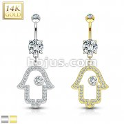Hamsa Dangle with Micro Paved CZ 14KT Gold Dangle Navel Ring