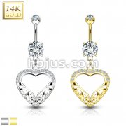 Filigree Heart Dangle with CZ 14KT Gold Dangle Navel Ring