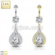 Three Tiered Tear Drop Dangle with Micro Paved CZ 14KT Gold Dangle Navel Ring