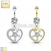 Gemmed Heart with CZ Spoke Center 14KT Gold Dangle Navel Ring