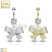 Ribbon Dangle with Micro Paved CZ 14KT Gold Dangle Navel Ring