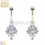Pear CZ with Cascading Oval CZ Cluster 14 Karat Solid Gold Navel Ring